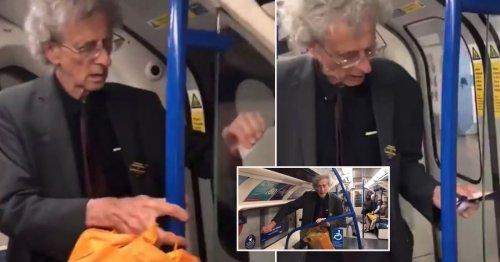 Piers Corbyn filmed peeling social distancing stickers off Tube in protest