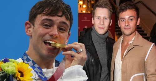 Tom Daley's husband Dustin Lance Black crying 'so many tears' as diver wins Team GB gold medal