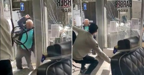 Barber attacked by men armed with hammers in front of terrified customers