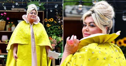 Gemma Collins makes a typically low-key appearance at the Chelsea Flower Show in bedazzled yellow cloak