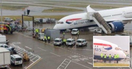 Nose of British Airways plane collapses at Heathrow Airport