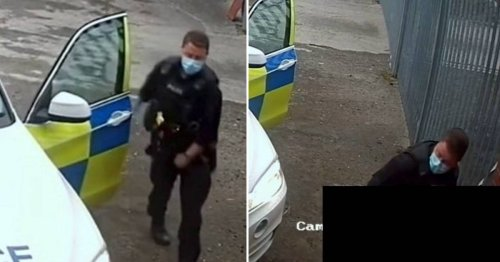 Police officer caught on camera urinating in the street