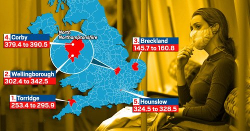 Top five Covid hotspots in England as cases drop in 98% of country