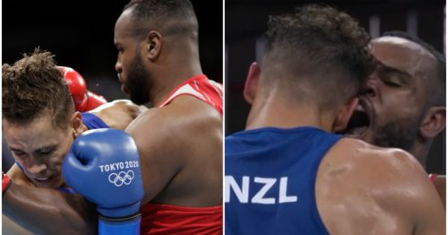 Boxer Youness Baalla tries to BITE his opponent during fight at Tokyo Olympics