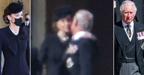 Moment Kate kisses grief-stricken Charles at funeral