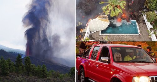 Swimming pools boiled by 20ft wall of lava from La Palma volcano