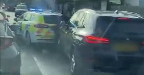 Police officer screams as she's 'rammed by unmarked police car' during chase