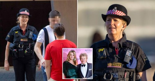 Penny Lancaster takes no nonsense out on police patrol as she scolds man for public urination