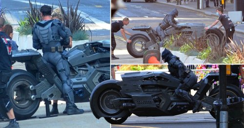 Batman and his giant motorcycle take over Glasgow streets for The Flash