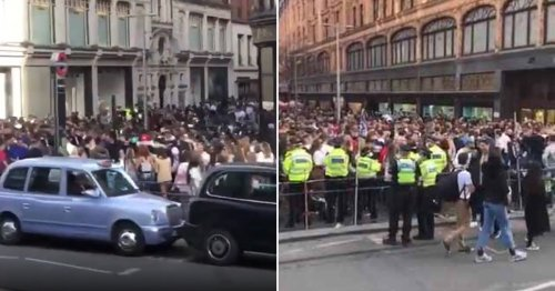 Hundreds of maskless young people descend on Harrods