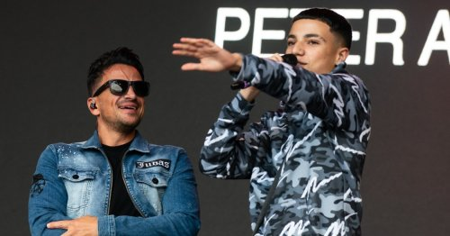 Peter Andre's son Junior is a natural as he joins dad on festival stage to entertain packed crowd