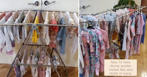 Mum reveals simple trick to double drying space for clothes