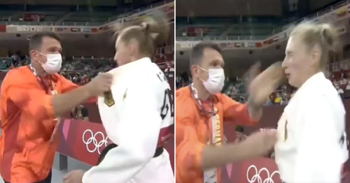 Olympic judo star Martyna Trajdos defends her coach after being shaken and slapped in pre-fight 'ritual'