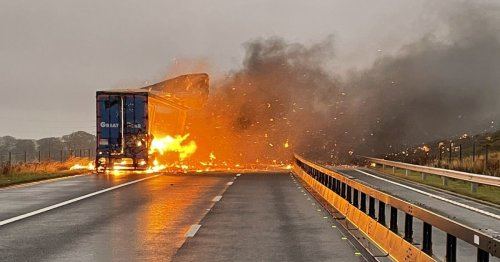 M6 closed in both directions as huge lorry fire engulfs motorway in smoke