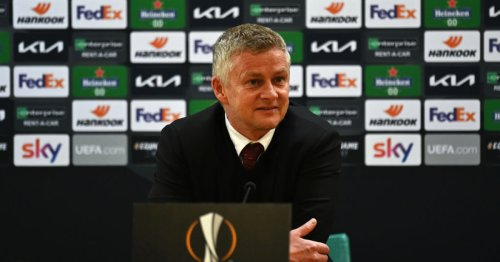 Manchester United boss Ole Gunnar Solskjaer reacts to facing Villarreal in the Europa League final