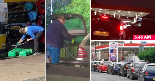 Selfish drivers load cars with jerry cans of petrol as stations ration fuel
