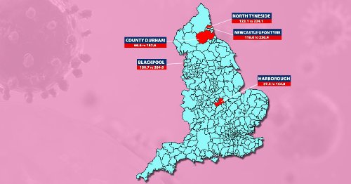 Map reveals top five hotspots as 85% of areas in England see rise in cases