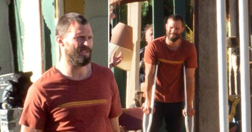 Jamie Dornan flashes gruesome head injury as he sports crutches in new photos from The Tourist set