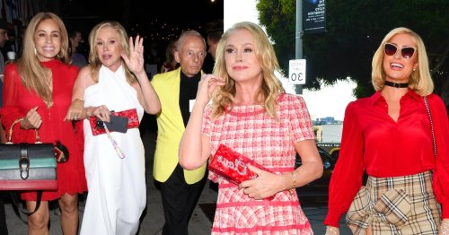 Kathy Hilton reveals why she ditched her dress at dinner and fashioned a toga out of a tablecloth instead