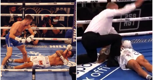 Lenin Castillo stretchered out of the ring following devastating Callum Smith knockout on Joshua vs Usyk undercard