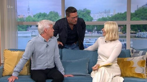 Gino D'Acampo causes chaos on This Morning return as he kicks off at Phillip Schofield and Holly Willoughby: 'What am I doing here at 10am?'