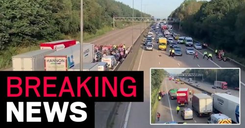 'Reckless' M25 protesters run onto high-speed lanes to try and block traffic again