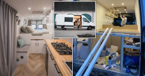 Couple turn old van into luxury home on wheels for £12,000