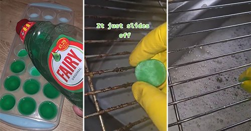Woman shares easy frozen washing up liquid trick to clean oven racks fuss-free