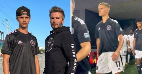 David Beckham is the proudest father ever as son Romeo follows in his footsteps with professional football debut