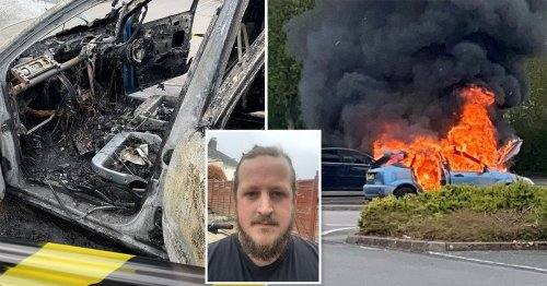 Hero driver jumped into burning car to move it to safety before it exploded