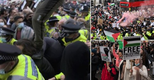 Violent clashes at 'Rally for Jerusalem' as man filmed leaping onto protester