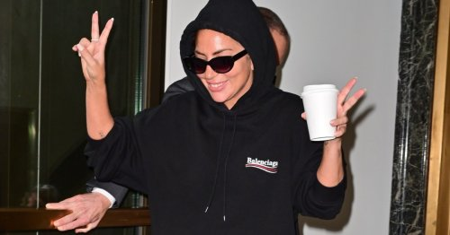 Lady Gaga throws us all by opting for comfort in a black tracksuit after a week of fierce fashion in New York