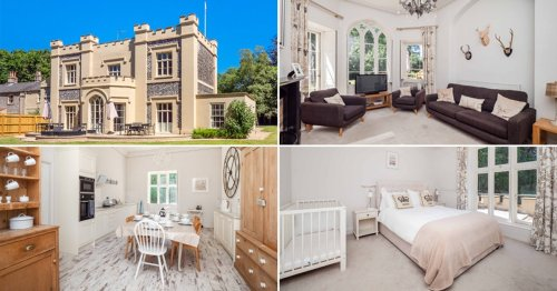 Five-bed castle with turrets and flag pole on the market for £750,000