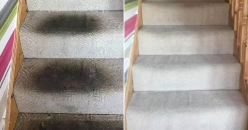 Mum gets filthy staircase carpet looking good as new in just four steps