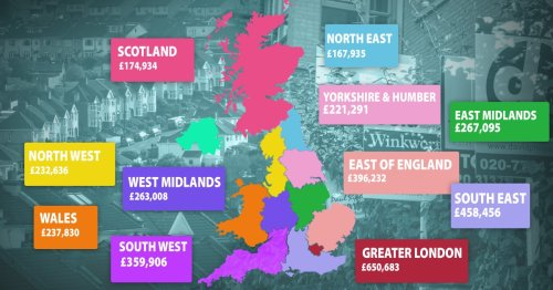 Map reveals record high house prices in all regions of the UK