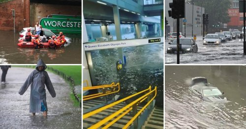 Families stranded and stations underwater as flash floods batter London