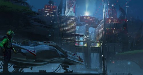 Starfield concept art shows alien worlds and lots of spaceships