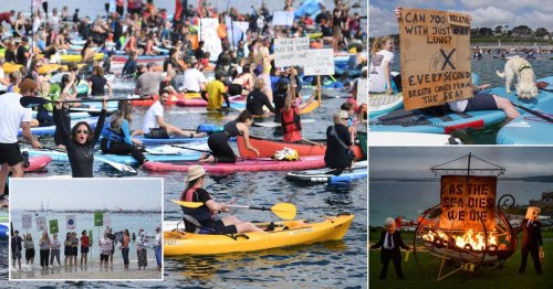 Surfers take to sea to demand climate action as G7 protests held across Cornwall