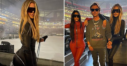 Khloe Kardashian poses with Kim Kardashian in behind-the-scenes snaps from Kanye West's Donda album party