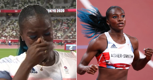 Team GB's Dina Asher-Smith breaks down in tears as she pulls out of Olympics 200m
