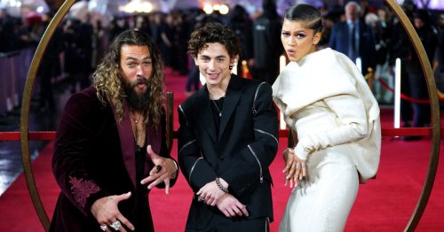 Zendaya, Timothée Chalamet and Jason Momoa's spirits aren't dampened by rain at Dune's London premiere
