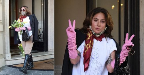 Lady Gaga tearful as she throws flowers to Italian fans after wrapping House of Gucci