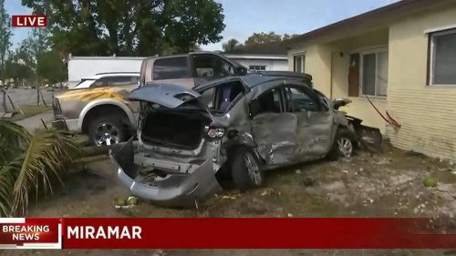 A Tesla speeding about 100 mph hits several parked cars, then slams into a Broward home