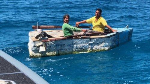 Two Cuban migrants stopped in Styrofoam raft off the Florida Keys