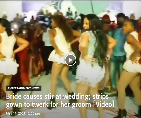 Bride Thrills Husband At Wedding; Strips Gown To Twerk For Her Groom [Watch]