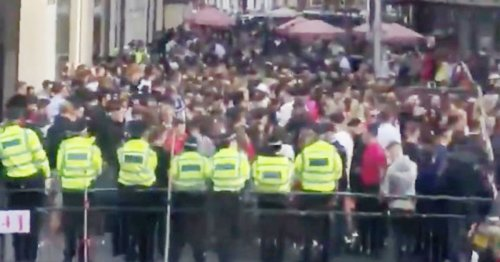 Massive crowd of maskless boozing youngsters cram together outside Harrods