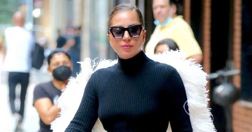 Lady Gaga turns heads as she totters around in New York impossibly high heels