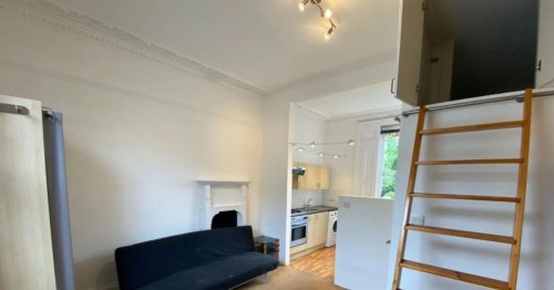 Studio flat available to rent for £1,100/month - but the bed is in a cupboard