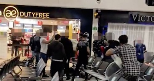 Three seriously injured and 17 arrested in mass brawl at airport lounge