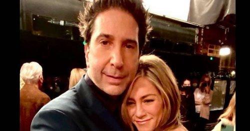 Friends' David Schwimmer shares cosy hug with 'crush' Jennifer Aniston
